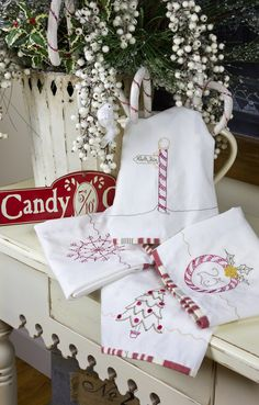 Hand embroidery pattern...peppermint stick tea towels