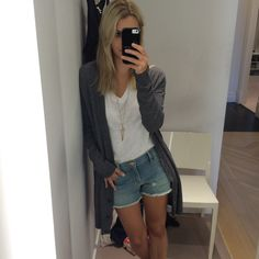 Love this outfit from @coop & spree  - rocking a Rag & Bone t-shirt, Frame denim cutoff shorts, a Jennifer Zeuner long pendant, and a Soft Joie oversized cardigan