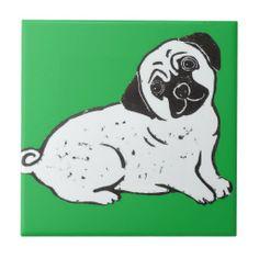 Pug with Green Background Ceramic Tile; Abigail Davidson Art
