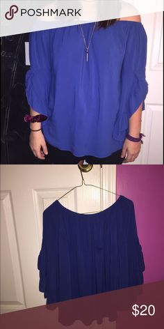 Flowy off the shoulder blouse Royal blue off the shoulder shirt Tops Blouses
