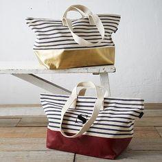 Baggu Dipped Weekender Bag - Striped #westelm