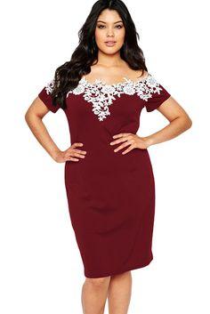 Lace Crochet Off Shoulder Burgundy Plus Size Pencil Dress