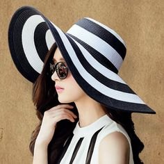 Fashionable Wide Brim Black and White Striped Pattern Sun Hat For Women #CLICK! #clothing, #shoes, #jewelry, #women, #men, #hats