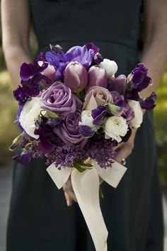 purple and white floral bouquet.