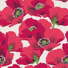 Poppies 2 by Petroula Tsipitori Seamless Repeat Vector Royalty-Free Stock Pattern