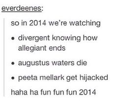 ~Divergent~ ~Insurgent~ ~Allegiant~ ^^^^ You, sir, are a ray of sunshine>>>>> I see what you did there.