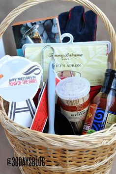 Father's Day Gift Idea- King of the Grill Basket full of fun barbecuing gifts. Cute printable tag included too!.