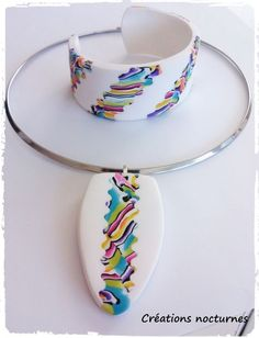 Polymer clay necklace and cuff by Créationes Nocturnés.