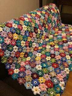 Crocheted colorful flower afghan – blanket – throw – made to order – Granny Square Crochet Puff Flower, Crochet Flower Patterns, Crochet Blanket Patterns, Crochet Motif, Crochet Flowers, Crochet Stitches, Knit Crochet, Scrap Crochet, Form Crochet