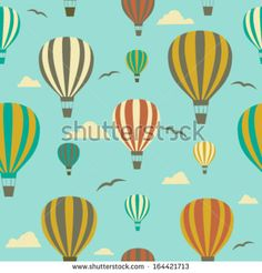 Seamless background with hot air balloons.Vector - stock vector