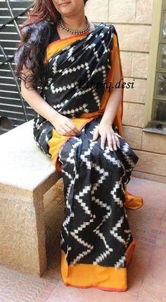 Pretty double Ikkat cotton saree