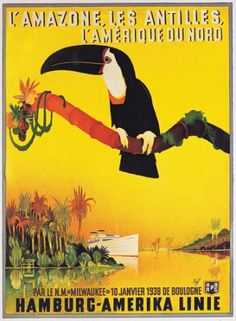 #ridecolorfully under toucans in the tropical Amazon! {vintage poster by Fuss Droits}