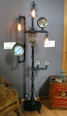 When searching for a lamp for your home, the choices are nearly unlimited. Discover the most suitable living room lamp, bedroom lamp, desk lamp or any other type for your selected room. Steampunk Lamp, Lamp, Vintage Industrial Decor, Desk Lamp, Steampunk Floor Lamp, Lights, Steampunk Lighting, Floor Lamp, Room Lamp