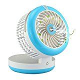 Mini Personal Fan Handheld Humidifier Misting Cooling Fan USB Rechargeable Water Spray Table Fan for Travel Office (Blue)   【Special Portable Design】: Our portable mini fan made of high quality ABS material. It's compact, cute, lightweight and foldable. Perfect for using in hot weather,...