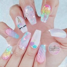 50 Magical Unicorn Nail Art Designs - Unicorn nails designs - Many people have a passion for unicorn nails. And Unicorn nails are becoming a unique trend. Nail Art Designs, Acrylic Nail Designs, Henna Designs, Cute Nails, Pretty Nails, Hair And Nails, My Nails, Unicorn Nails Designs, Nail Design Spring