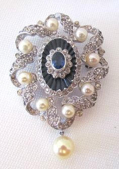 Vintage 1940s Signed Jomaz Brooch Rhinestone Faux Pearls Silvertone Blue Stone | eBay