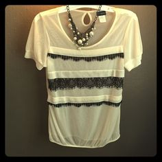 Adorable Daytrip Top! Sheer, off-white with black lacey stripes! Beautiful! Perfect condition, worn once. Buckle Tops Blouses