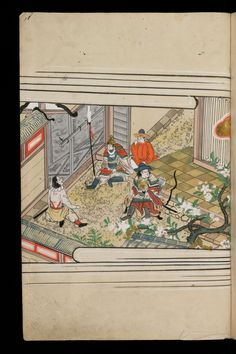 Japenese manuscript representing the Life of Buddha (Shaka no Honji). It's a Nara picture book. Some guards and soldiers are talking to each other behind a fortification. An archer is looking at the right side.  #Japan #Manuscript #picturebook #buddha #flower #soldier #archer #bow #ink