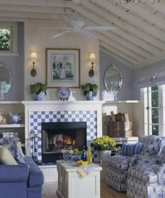 Lovely blue and white living room - I could just move in and never leave!