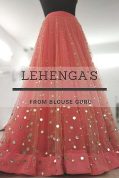 This lehenga made with netted fabric embroidery mirror work and beads Lehenga Designs Simple, Simple Lehenga, Fancy Blouse Designs, Designs For Dresses, Mirror Work Dress, Mirror Work Lehenga, Mirror Work Blouse Design, Wedding Dresses For Girls, Party Wear Dresses