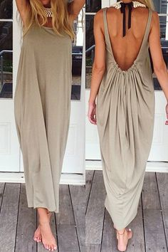 Backless Solid Color Ruffle Sleeveless Maxi Dress KHAKI: Dresses 2016 | ZAFUL