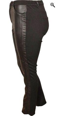 DNY (MARC LAUGE) - Smart leggings med læderlook foran - Black