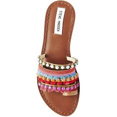 Steve Madden Women's Gypsy Shoes featuring polyvore women's fashion shoes pom pom sandals flat shoes steve-madden shoes multi color sandals colorful sandals