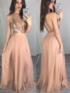 A-Line/Princess Sleeveless Spaghetti Straps Chiffon Floor-Length Sequin Dresses - Prom Dresses - Hebeos Online