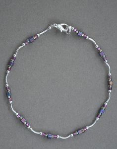 Jewelry - Anklets - Purple and Silver Beaded Anklet by JewelryArtByGail on Etsy