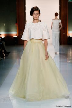 georges hobeika couture spring 2014 pale yellow half sleee beaded top