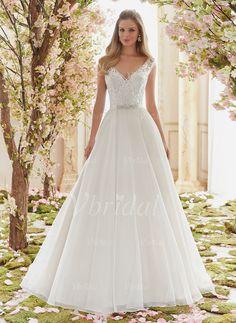 Brautkleider - $203.55 - Duchesse-Linie V-Ausschnitt Bodenlang Chiffon Brautkleid mit Perlenstickerei Applikationen Spitze (0025100689)