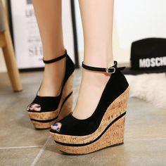 Womens Beautiful Peep Toe Ankle Strap Wedge Heel Platforms