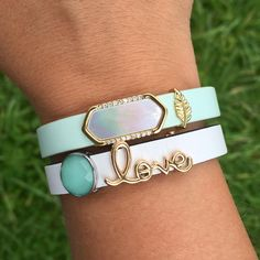 Love how the mint leather and the green quartz wishing stone complement each other and the mother of pearl geo bar!