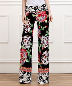 Love this Black Flower High-Waist Palazzo Pants by Reborn Collection on #zulily! #zulilyfinds