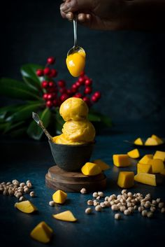 This VEGAN Mango Ice-cream is made more protein-rich and special with Aquafaba - the chickpea brine liquid. Non-dairy + Gluten-free dessert.