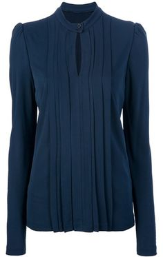 Burberry Blue Long Sleeve Key Hole Blouse