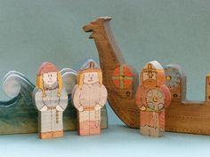Wooden Toy Viking Ship Play Set