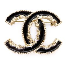 Contemporary Chanel Black Enamel CC Brooch - In Pouch   Clarice Jewellery