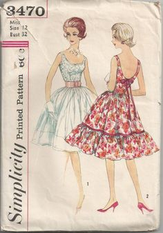 1960 Short Flirty Evening Dress with Ruffle and Low by Redcurlzs, $50.00