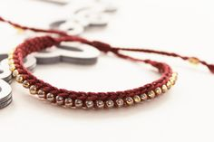 Crochet Bracelet with Japanese Glass Beads, Burgundy crochet bracelet with gold glass beads