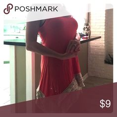 Bikini cover up👙 Have some fun with this coral lace bikini cover up🍉 Swim Coverups