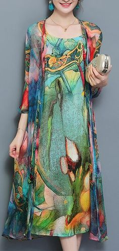 US$39.50 Vintage Women Two Pieces Set Straps 3/4 Sleeve Print Dresses