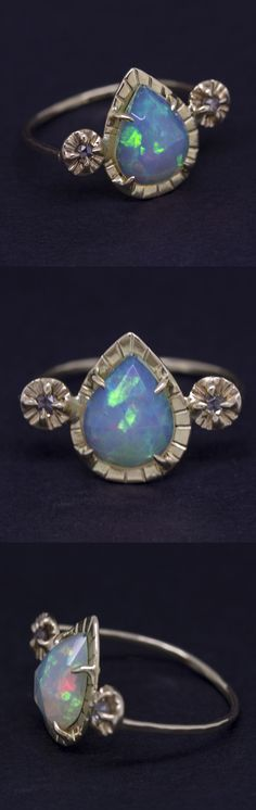 Salomé Ring no.1 by Claire Kinder Studio. Rose cut Ethiopian Opal with rose cut champagne diamonds.