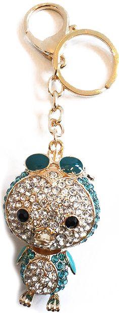 "Amazon.com: Unique & Custom 1 Single Large Size ""Split"" Circle Keychain Ring Made of Steel w/ Jumbo Vibrant Sparkly Kid's Arctic Penguin Bird & Sunglasses Style Charm Made of Metal {White, Blue & Gold}: Automotive"