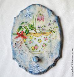 """Вешалка """"Фарфоровые чашки"""" - голубой,белый,бело-голубой,нежный,романтичный"""