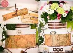 Travel themed wedding, world map centerpiece  Event planning & decorations. Contact: ilinca@pastelle.ro https://www.facebook.com/PastelleEvents