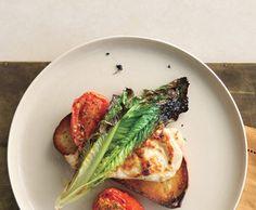 Broiled chicken, romaine & tomato bruschetta.
