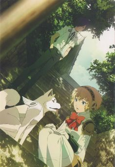 Koromaru, Aigis and Main character from Persona 3