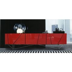 Olivia (SM-D14A) - Red Modern Entertainment Center - Entertainment Centers - Living Room