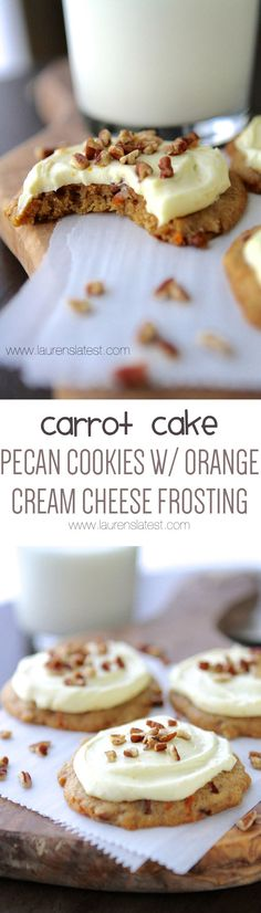 Carrot Cake Pecan Cookies with Orange Cream Cheese Frosting- This Carrot Cake is moist and flavorful with grated carrots and is frosted with a delicious cream cheese frosting. of grated carrot give the Carrot Cake Brownie Desserts, Oreo Dessert, Mini Desserts, Coconut Dessert, Just Desserts, Delicious Desserts, Yummy Food, Carrot Cake Cookies, Pecan Cookies